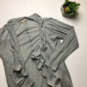 Anthropologie grey striped ruffle cardigan